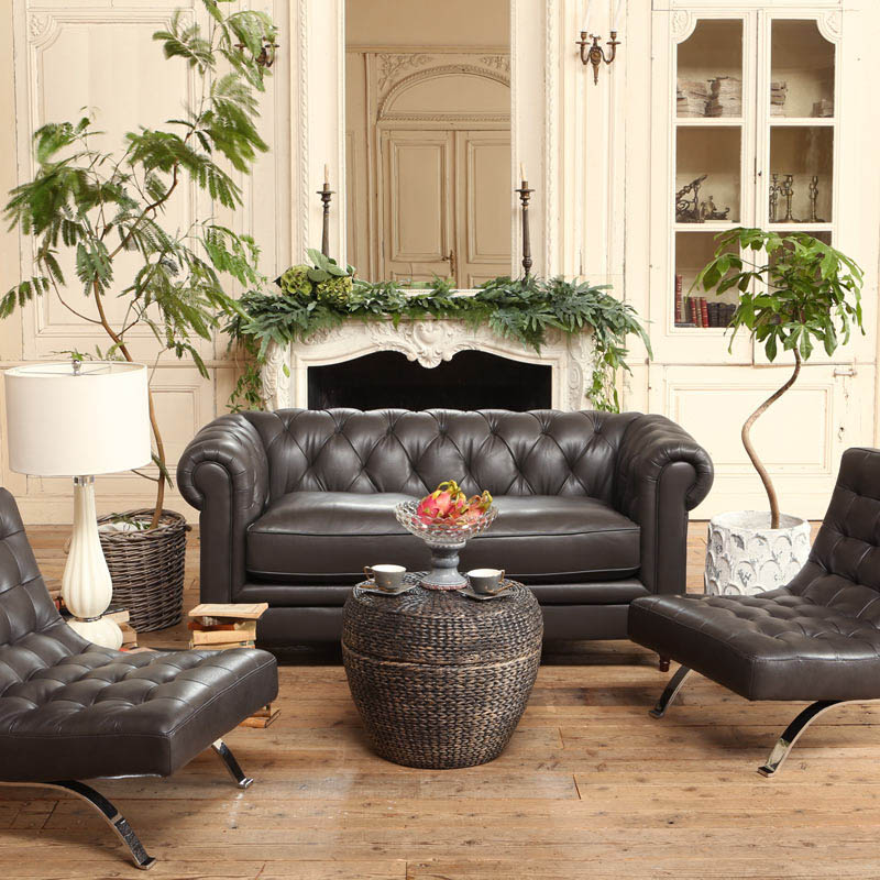 LEATHER SOFA 2 SEATER W.GRAY