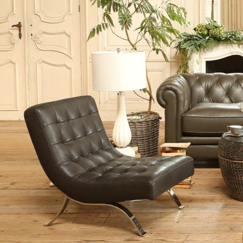 LEATHER SOFA 1 SEATER GUNMETAL
