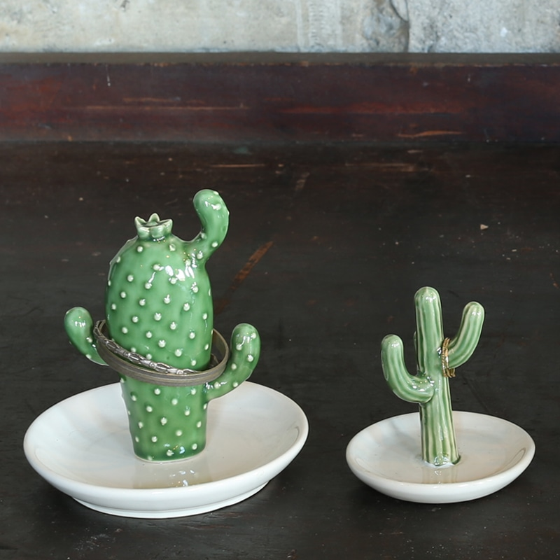 CACTUS RING HOLDER WITH TRAY OPUNTIA
