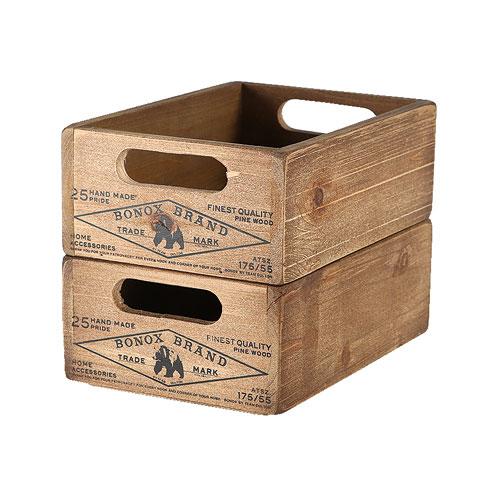 WOODEN STOCKER BOX  NATURAL