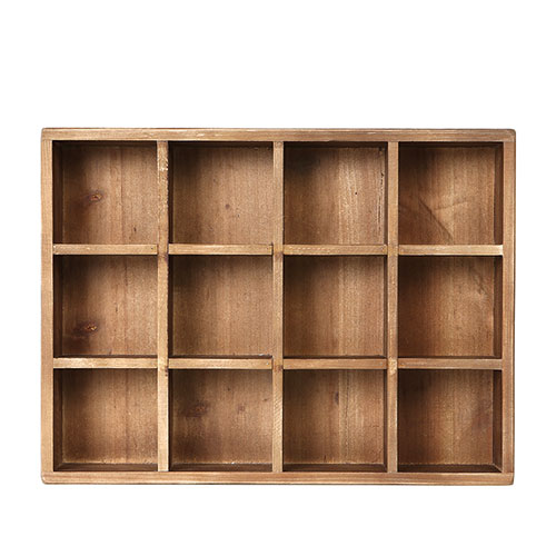 12 PARTITION WOODEN BOX H65