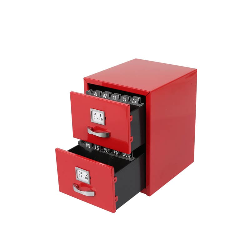 METAL CARD CABINET RED