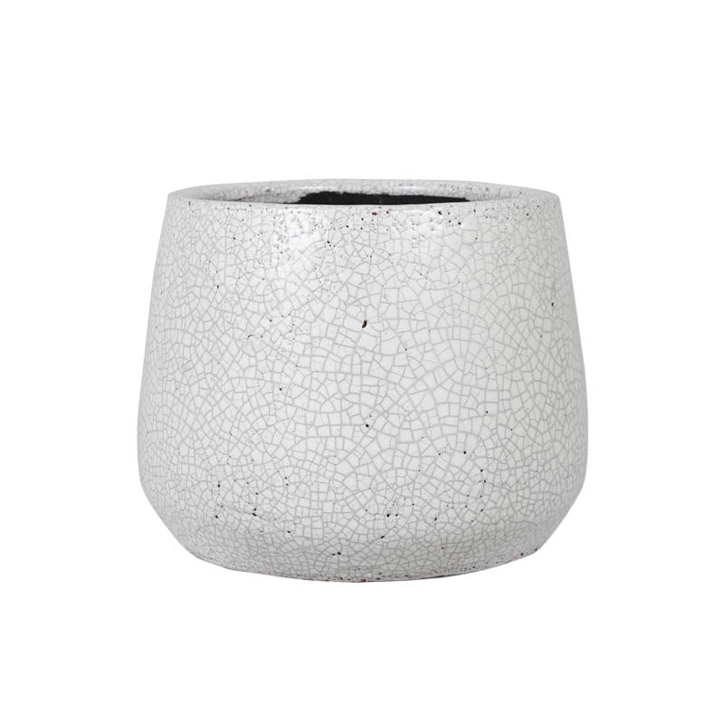 GLAZED POT ROUND WHITE L