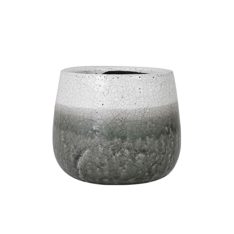 GLAZED POT ROUND GREENISH GRAY M