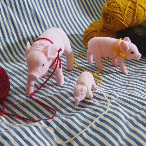 FLOCKED PIG SET OF 2 (S)