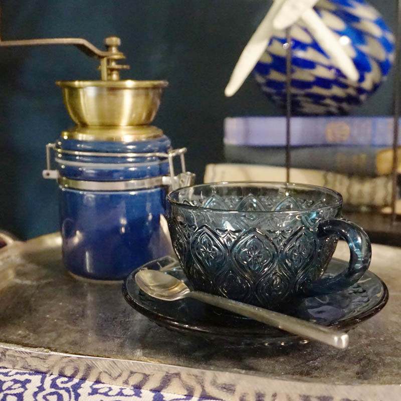 GLASS CUP & SAUCER ''FIORE'' BLUE