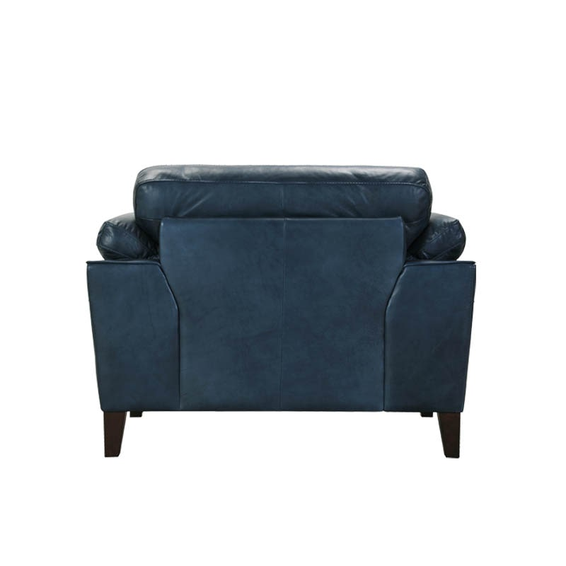 LEATHER SOFA 1 SEATER FRENCH NAVY