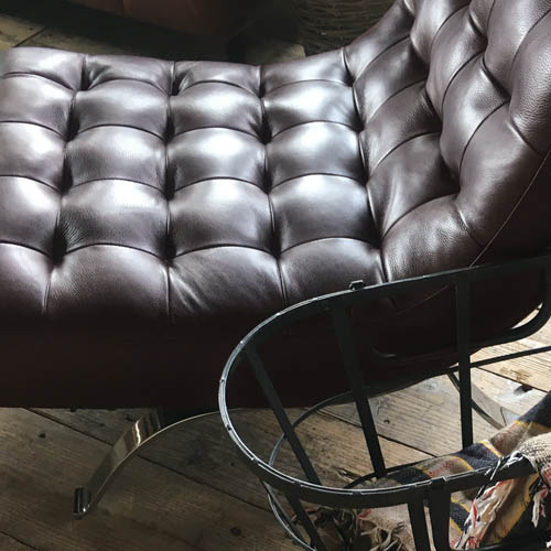 LEATHER SOFA 1 SEATER D.BR