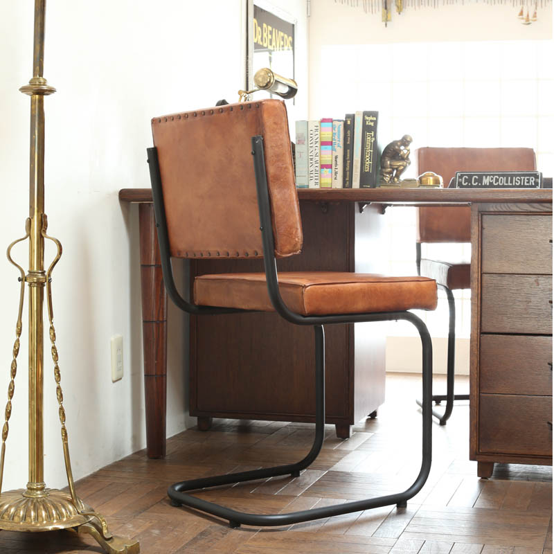 LEATHER IRON CHAIR