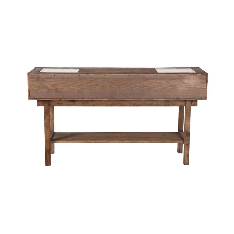 """DARCEY'' PINE CONSOLE GLASS TOP"
