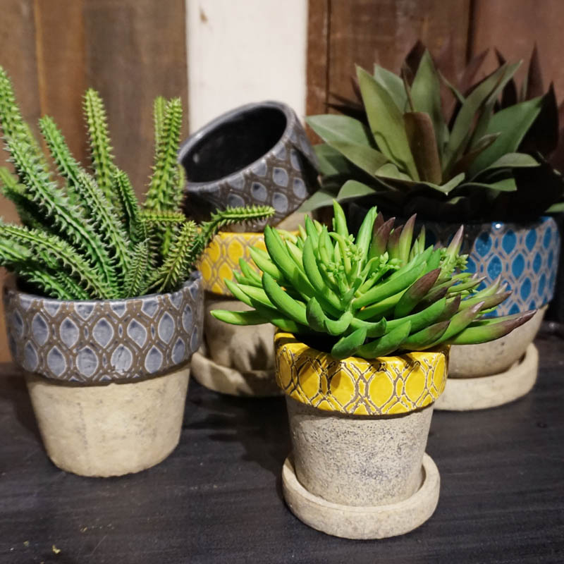 GEOMETRIC POT ROUND-A S GRAY