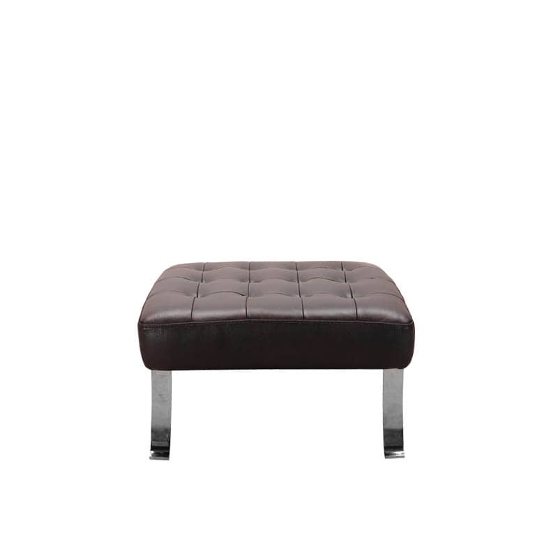 LEATHER OTTOMAN DARK BROWN