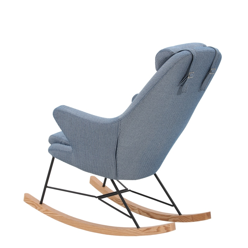 "ROCKING CHAIR ""HERRINGBONE BL_WT"""