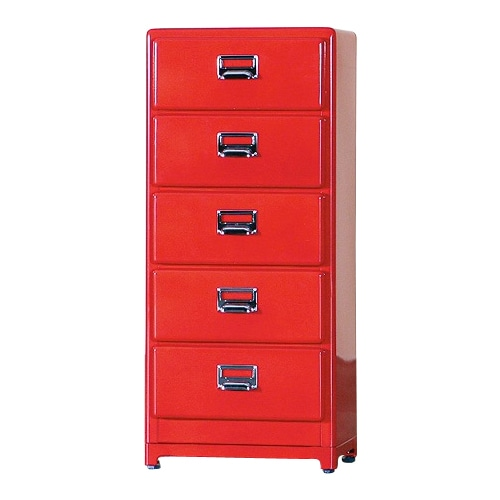 5 DRAWERS CHEST RED