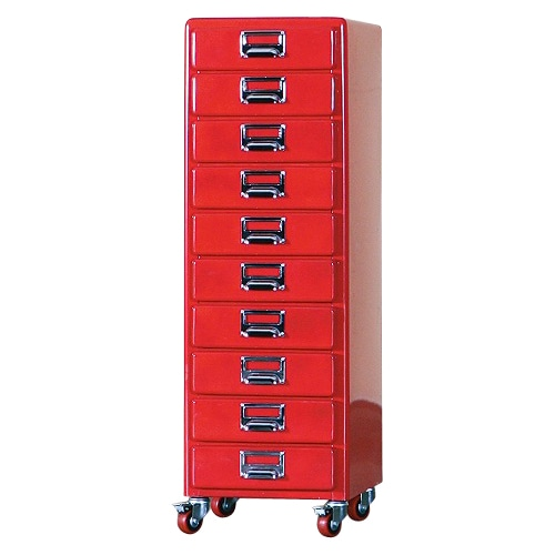 10 DRAWERS CHEST RED