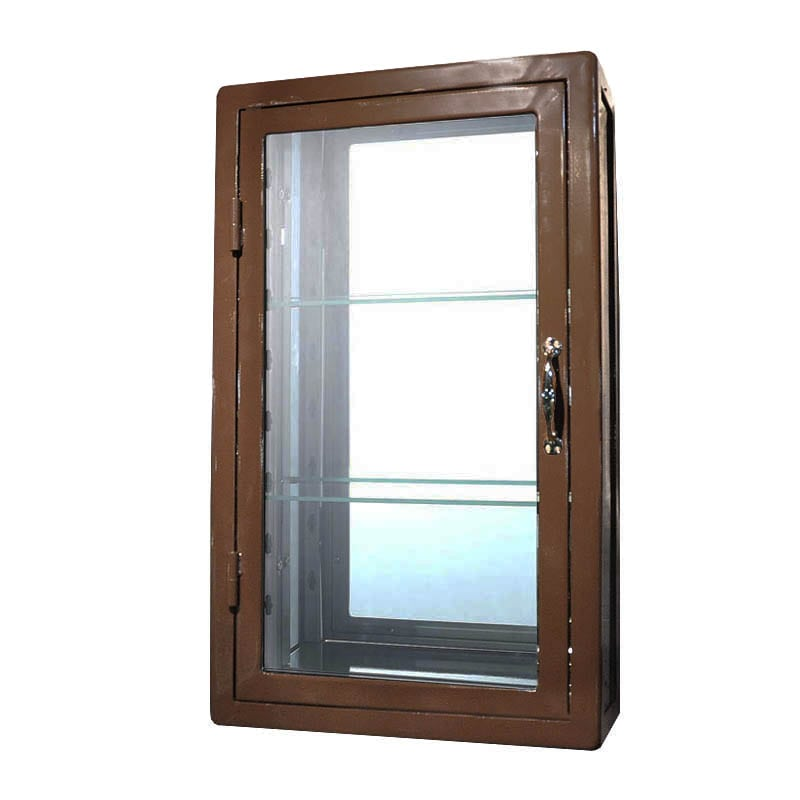 WALL MOUNT GLASS CABINET BRW