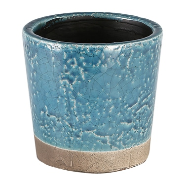 COLOR GLAZED POT M.BLUE
