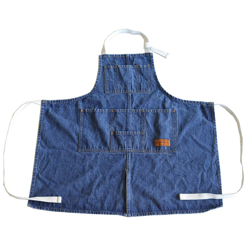 """MW'' WORK APRON WASHED DEINM"