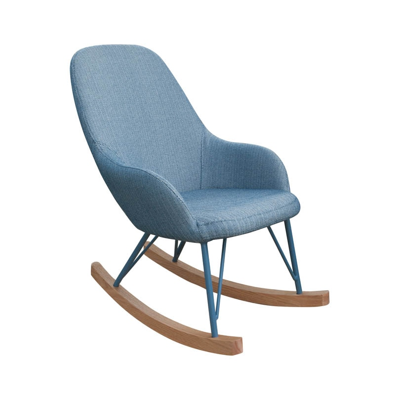 ROCKING CHAIR S ''HERRINGBONE BLUE/WHITE''