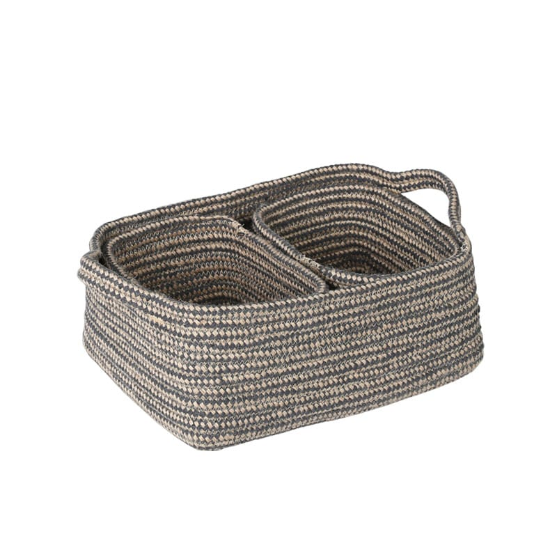 MIXED ROPEBASKET WITH HANDLE 3PCSSET