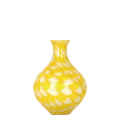 GLASS VASE PAVO S YELLOW