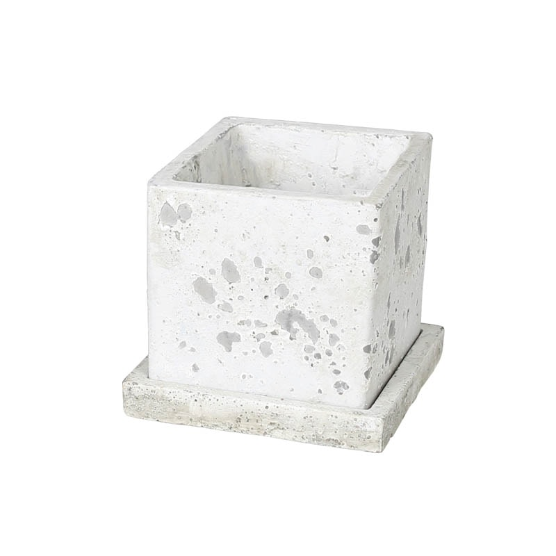 SOLID PLANTER CUBE L ROUGH GRAY