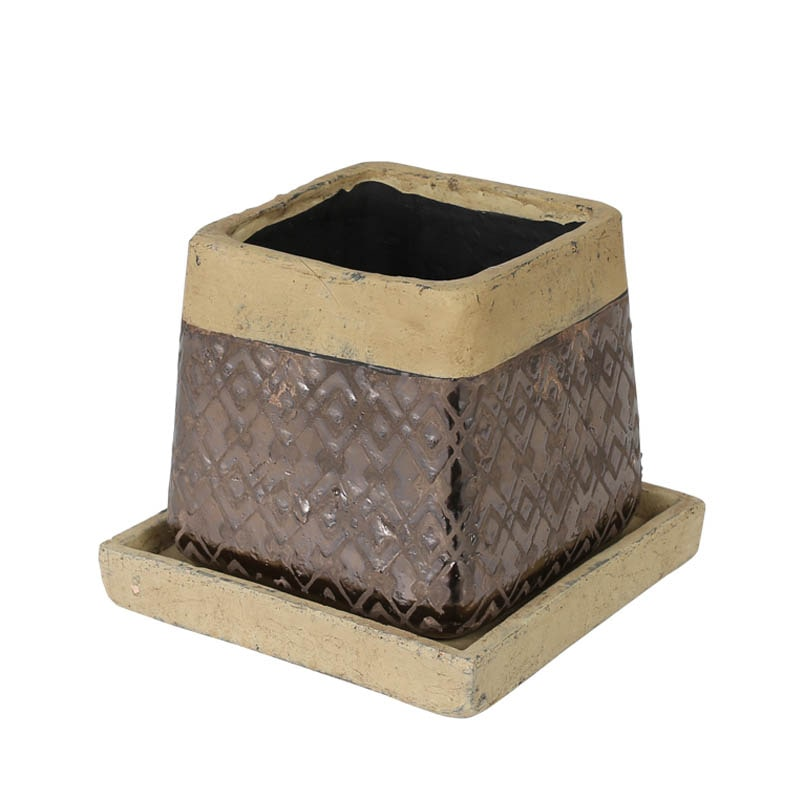 METAL GLAZED POT SQUARE L