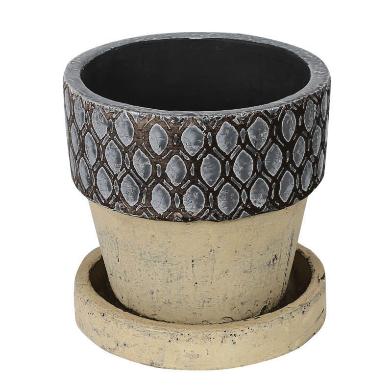 GEOMETRIC POT ROUND-A L GRAY