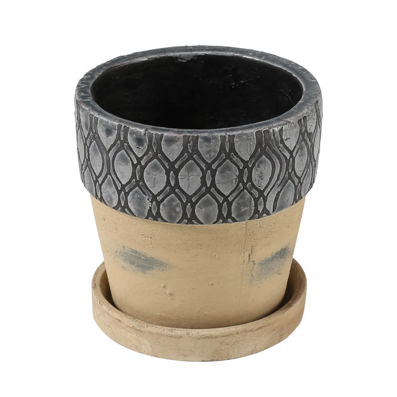 GEOMETRIC POT ROUND-A M GRAY