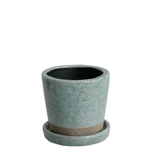 COLOR GLAZED POT  C.GREEN