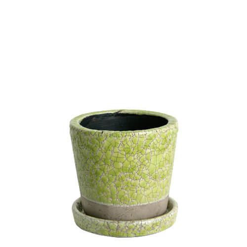 COLOR GLAZED POT  LIME GREEN