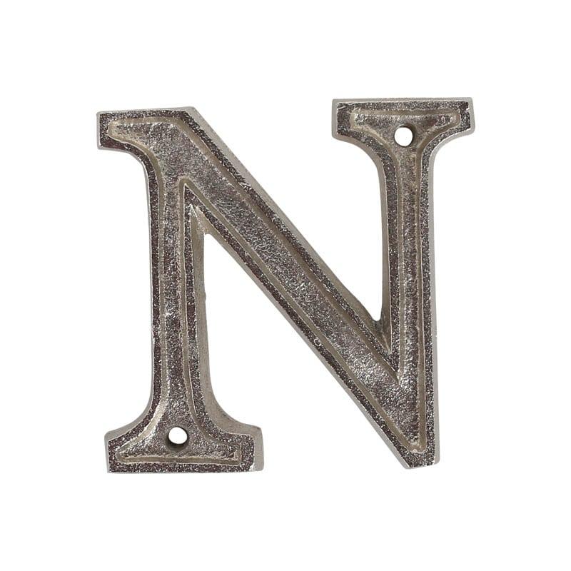 """METAL LETTER 105 SILVER """"N"""""""