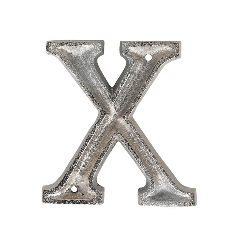 """METAL LETTER 105 SILVER """"X"""""""