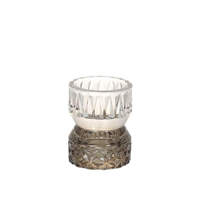 GLASS CANDLE HOLDER SMOKE