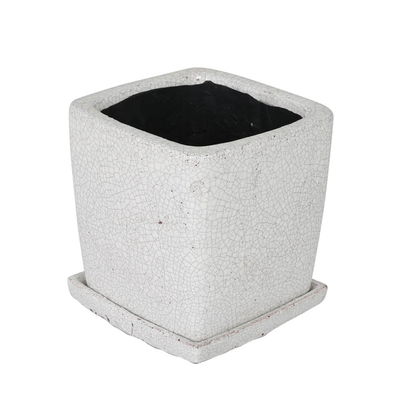 GLAZED POT SQUARE WHITE L