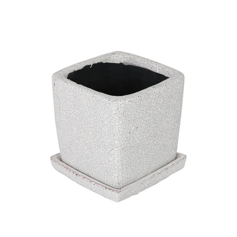 GLAZED POT SQUARE WHITE S