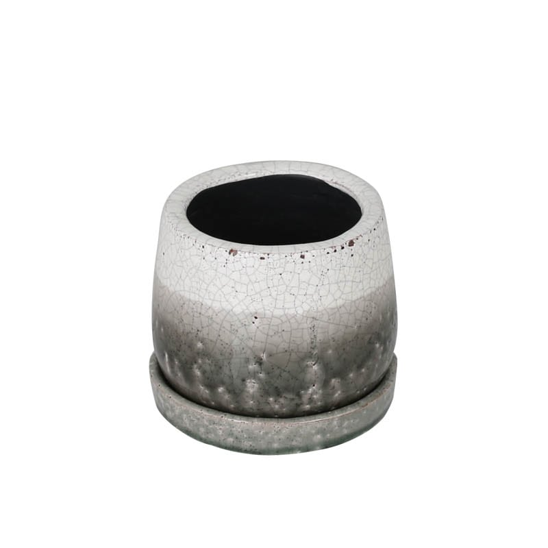 GLAZED POT ROUND GREENISH GRAY XS