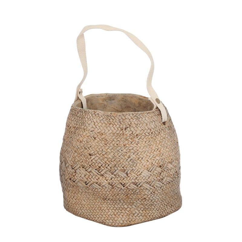 CEMENT BASKET POT NATURAL L