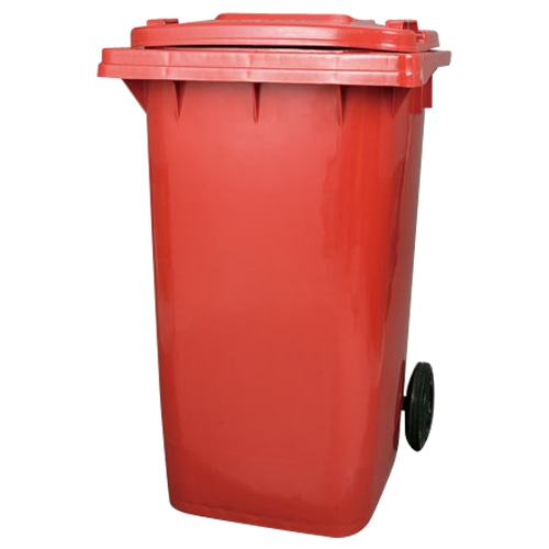 PLASTIC TRASH CAN 240L RED