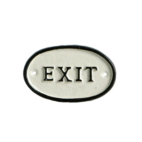 "OVAL SIGN ""EXIT"""