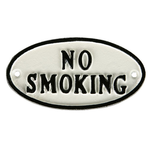 "OVAL SIGN WT ""NO SMOKING"""