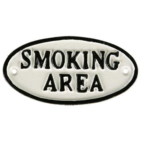 "OVAL SIGN WT ""SMOKING AREA"""
