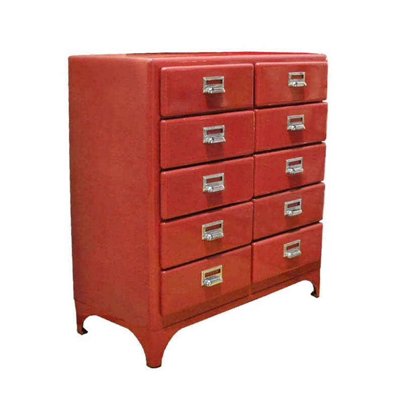 2 COLUMNS 5 DRAWERS RED