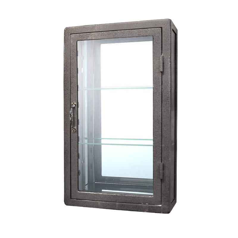 WALL MOUNT GLASS CABINET GRAY