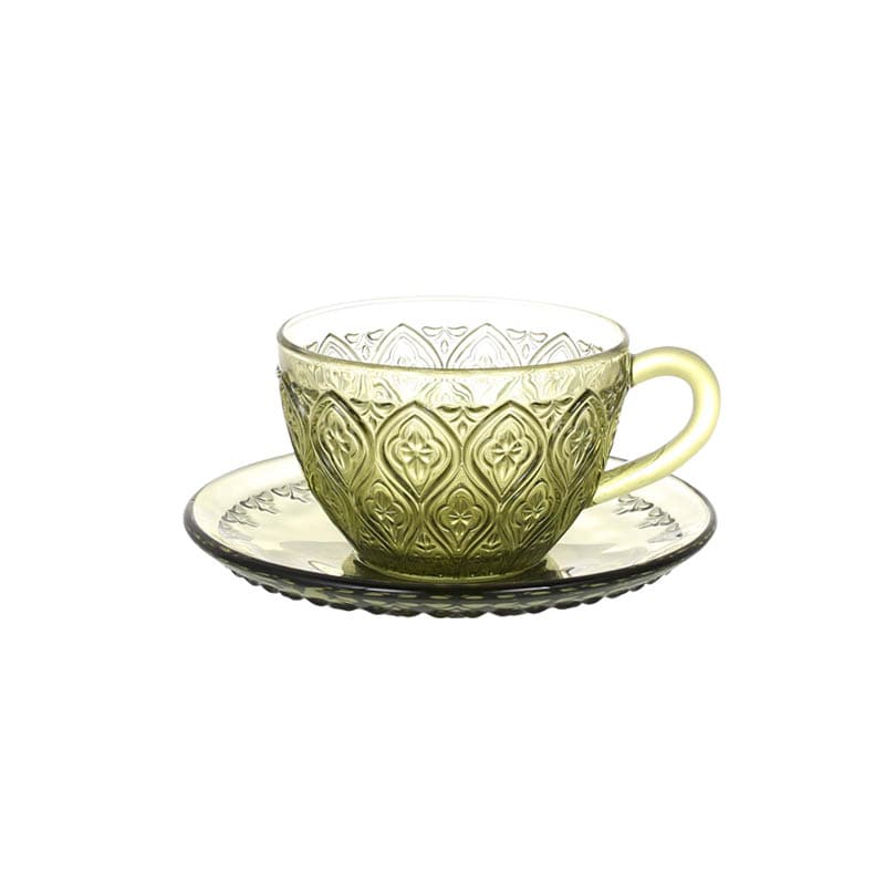 GLASS CUP & SAUCER ''FIORE'' GREEN
