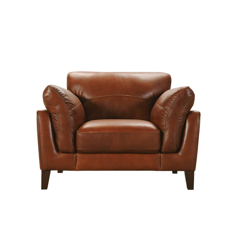 LEATHER SOFA 1 SEATER CHESTNUT