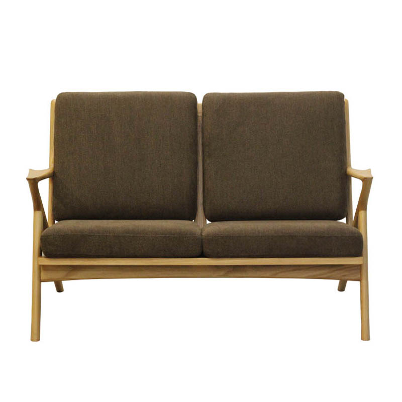WOOD FRAME SOFA 2ST SPICE BROWN