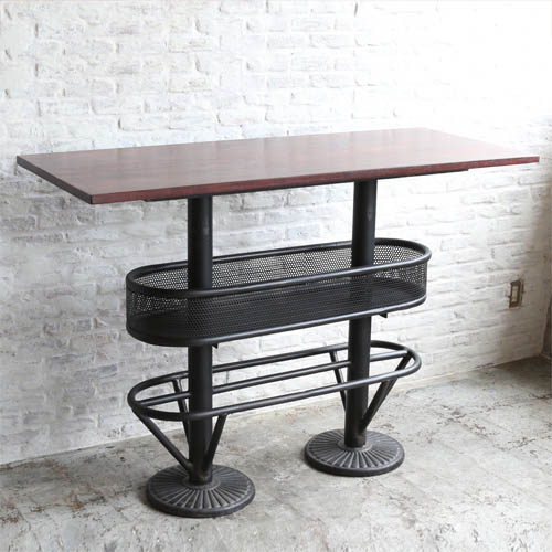 WOODEN AND IRON PUB TABLE