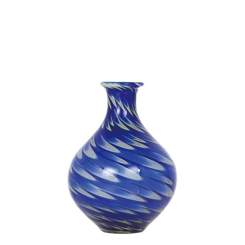 GLASS VASE PAVO S BLUE