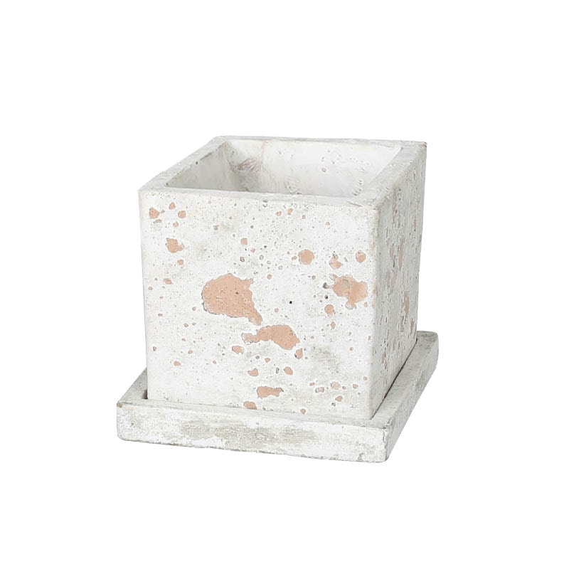 SOLID PLANTER CUBE L MUD BROWN